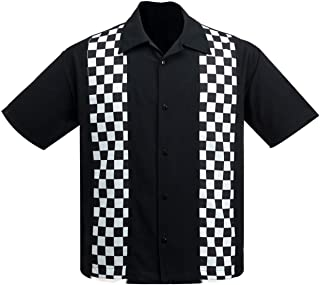 Steady Clothing Men's V8 Checkered Mini Panel Button Up Bowling Shirt