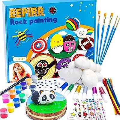 EEPIRR Rock Painting Kit for Kids - Arts & Crafts for Kids 4-12 Hide and Seek Stone Painting Kit DIY Supplies Waterproof Paint Gifts