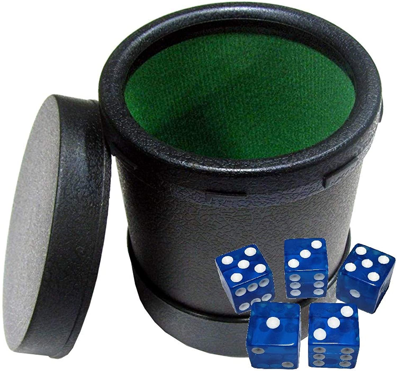 Felt Lined Dice Cup with Easy On Off Lid + 5 Square Corner Transparent Dice
