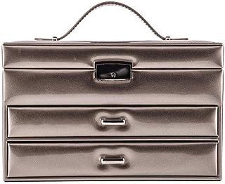 TONGSH Dresser Organizer - Luxury Jewelry Accessories Box, Drawer Tray, European Noble Mirror PU Jewelry Storage Box (Color : Gold)
