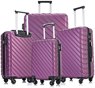 4 Piece Luggage Sets Suitcase Sets with Wheels/Protective Covers/Hangers Hardshell for Women Men Family Travel, Purple