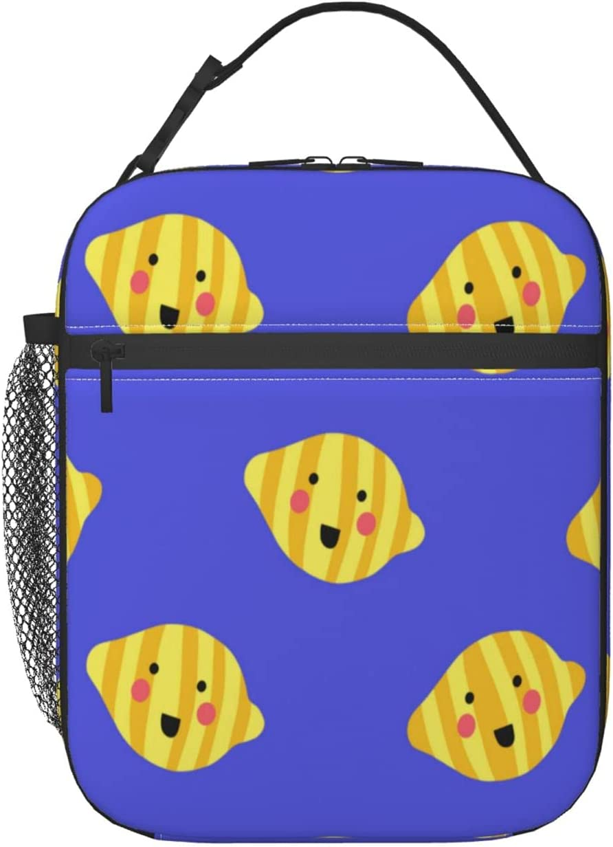 Happy Smiling Lemons Lunch Bag Max 84% OFF Bombing new work Insulated Box 3D
