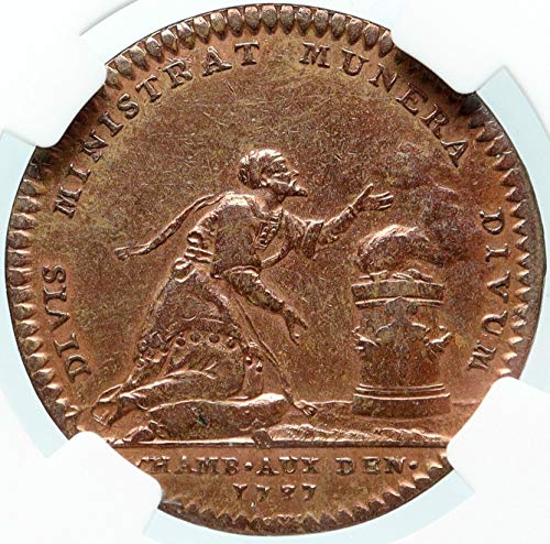 1737 unknown 1737 FRANCE King LOUIS XV Rabbi at Altar Genuine coin Good NGC