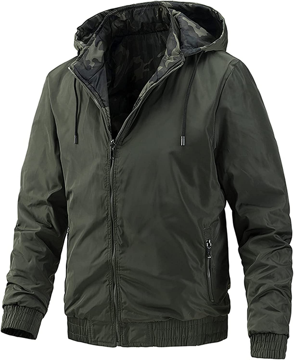 Men's Casual Hooded Jacket Baseball Uniform,Fashion Solid Color Coat,for Young People