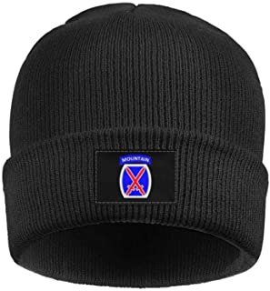 Bartonny 10th Mountain Division.SVG Acrylic Knit Hat Winter Warm Cuffed Thick Ski Cap Unisex
