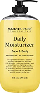 Daily Body and Face Moisturizer by Majestic Pure - Wonder Moisturizing Lotion for Women and Men - Nourishes and Hydrates - for Dry and All Skin Types - 9 fl. oz.
