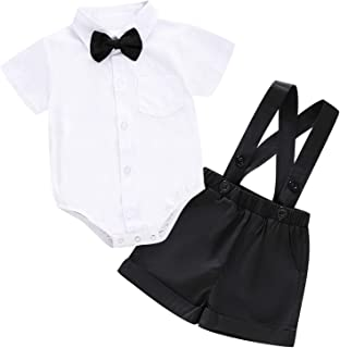 Baby Boys Gentleman Outfit Set, Infant Plain Shirt+Bowtie +Suspenders Pants for Toddler Casual Formal Wedding Birthday Party