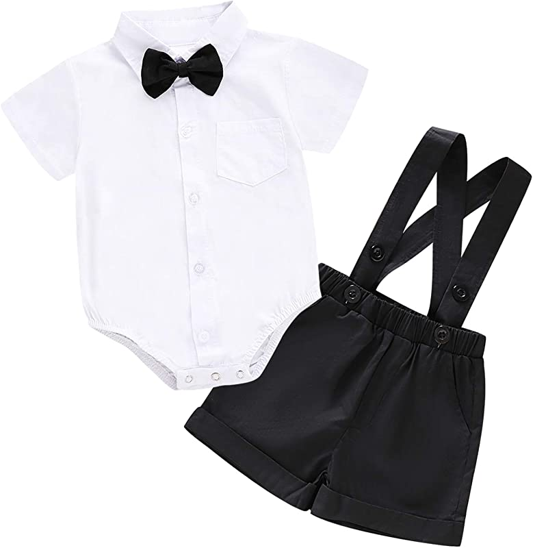 Baby Boys Gentleman Outfit Set Infant Plain Shirt Bowtie Suspenders Pants For Toddler Casual Formal Wedding Birthday Party