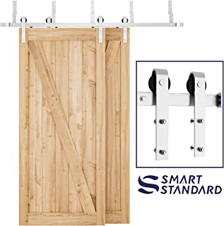 SMARTSTANDARD 6.6ft Heavy Duty Bypass Stainless Sliding Barn Door Hardware Kit - Smoothly & Quietly -Easy to Install - Includes Step-by-Step Installation Instruction Fit 40