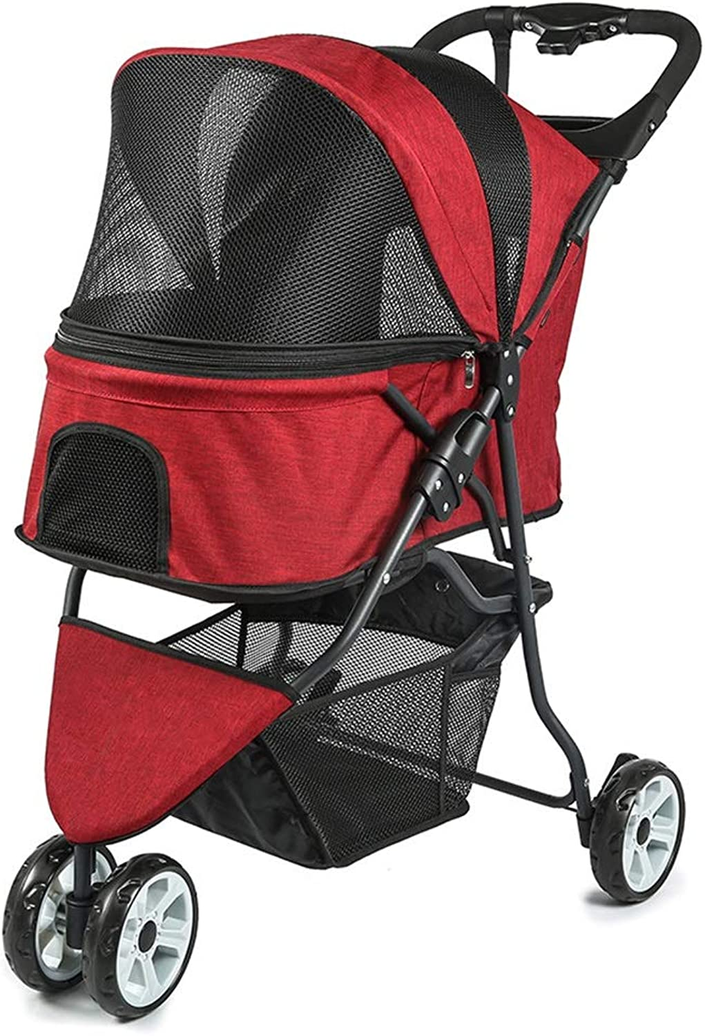 MZP Pet Travel Stroller, 600D PVC Cloth Suspension Pushchair Rear Brake Three Wheels Large 360 Degree redatable Cup Holders Storage Basket Load Within 60kg (color   Red)