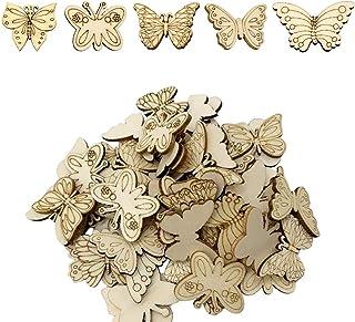 Niaciswe Papillons en Bois 30 Pièces Découpes en Bois Non Finies Embellissements Papillon Artisanat de Peinture Embellisse...