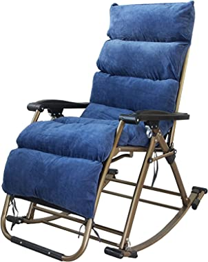 Zero Gravity Rocking Chaise for Indoor Outdoor, Extra Large Lounge Rocker Chair with Cushion, Home Office Recliner for Adults