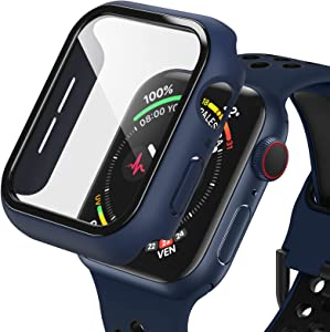 Dafill for Apple Watch Case 44mm Series 6/5/4/SE with Tempered Glass Screen Protector, Hard PC All Around Protective Cover Lightweight Ultra-Thin Bumper Compatible for iWatch 44mm - Blue/Black