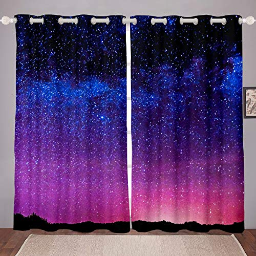 Feelyou 3D Galaxy Blackout Curtain for Bedroom Universe Nebula Room Darkening Curtain Blue Purple Starry Sky Night Thermal Curtain Star Planet Outer Space Blackout Drapes,42 X 63 Inch,2 Panels