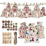 Azurely Bag Set, calendario de Adviento de Navidad con 24 piezas pequeñas bolsas de arpillera y pegatinas decoración de Navidad para regalo de Navidad