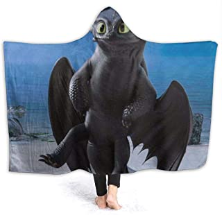 OWEDR How to Train Your Dra-gon Tooth-Less Dragon Hooded Blanket, Soft Sherpa Fleece Blanket (60