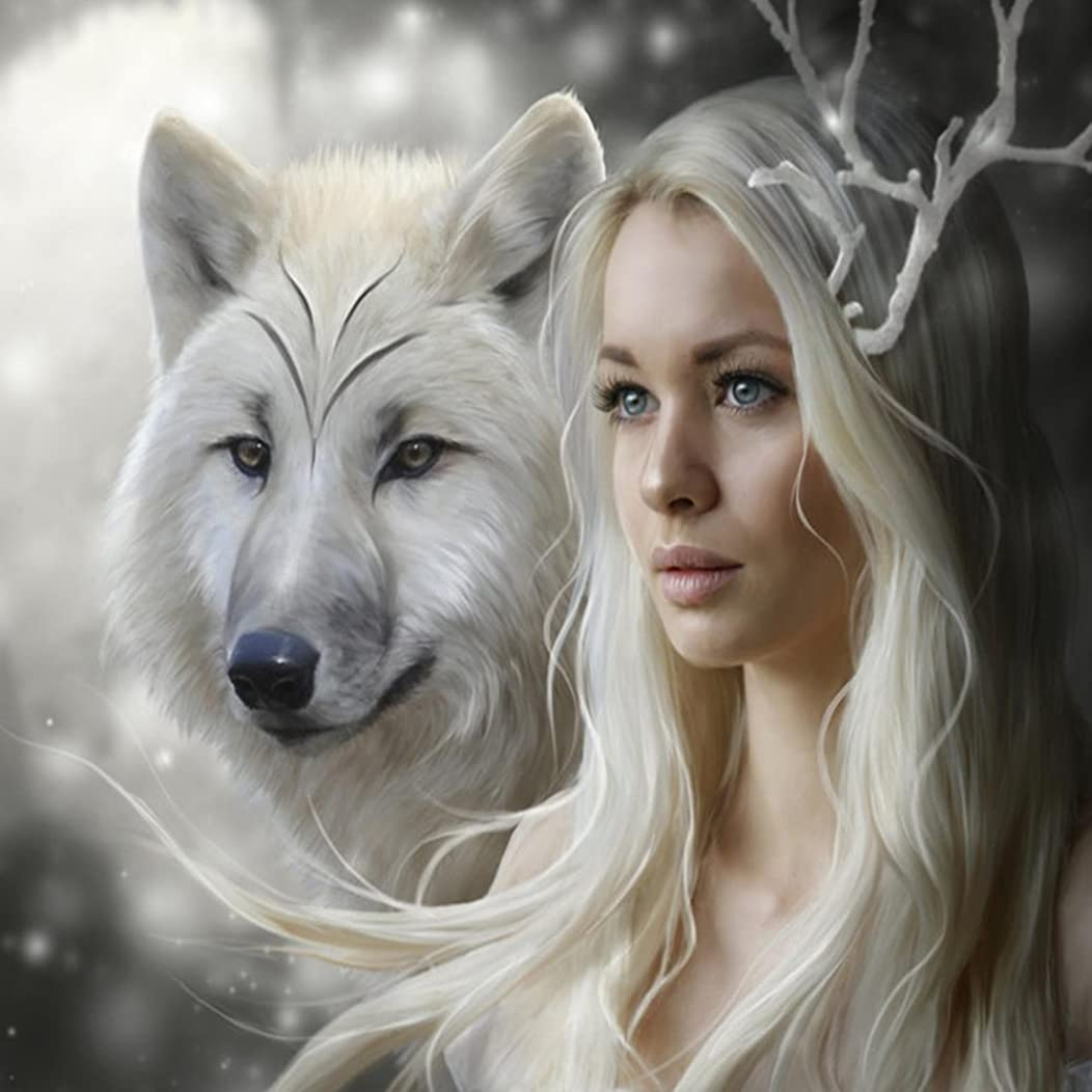 Orsit DIY 5D Diamond Painting Kit, Full Diamond Embroidery Cross Stitch Arts Craft Supply for Home Wall Decor 14X14 inches,Girl and Wolf