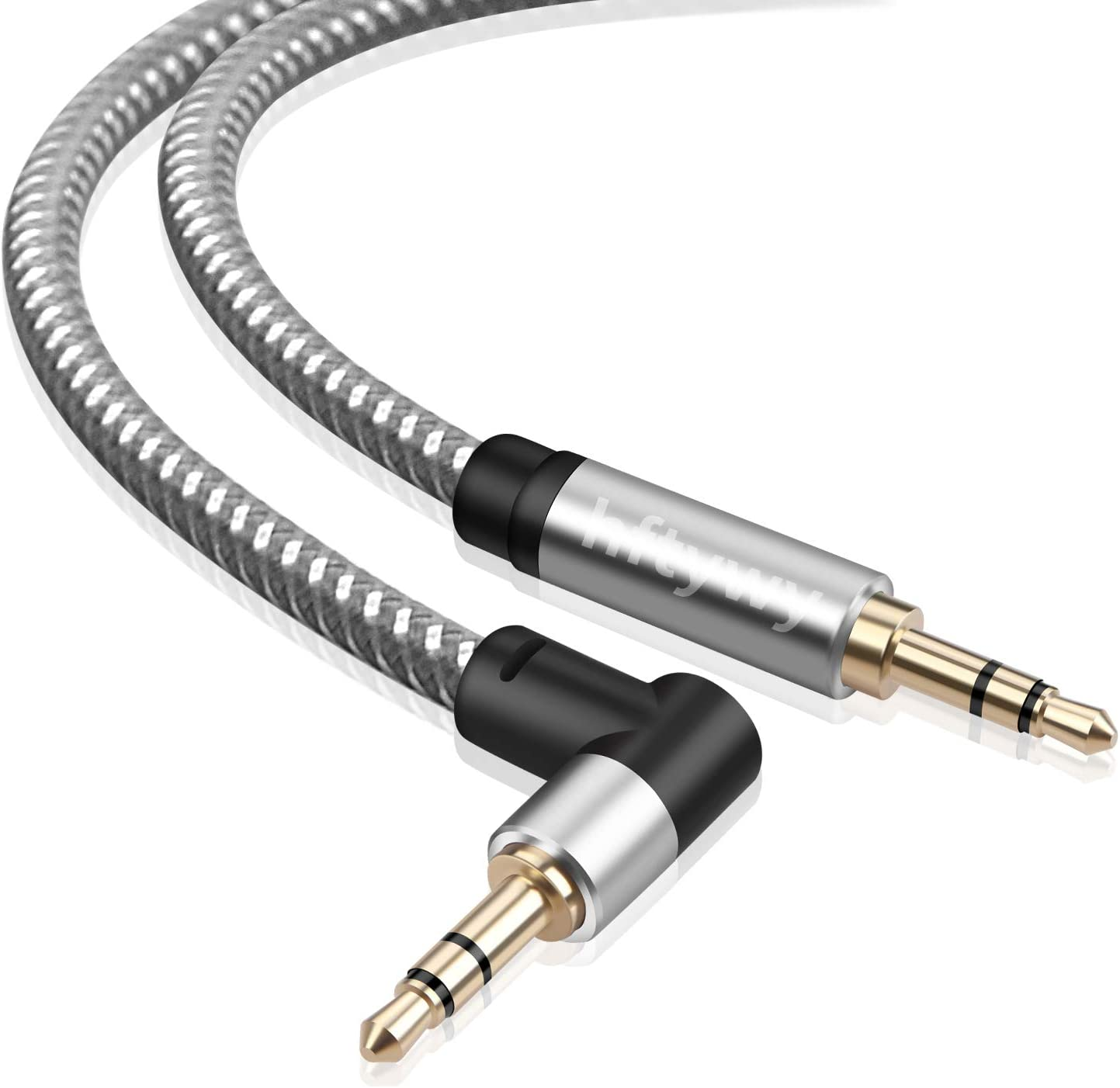 3.5mm Audio Cable 1.5 ft Male to Male AUX Cord Hftywy aux Cable,Stereo Aux Jack to Jack Cable 90 Degree Right Angle Auxiliary Cord Compatible for Beats, iPhone, iPod, iPad, Tablets, Speakers,
