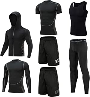 Men's Workout Set 7 Piece Set Men's Compression Pants Shirt Top Shorts Long Sleeve Jacket Short Sleeve Base Layers T Shirt...