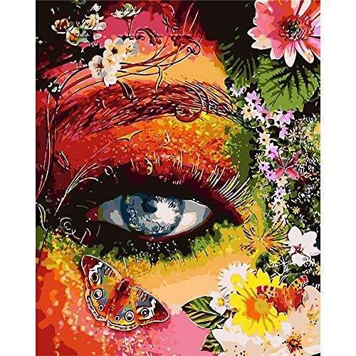 BAISITE Paint by Numbers for Adults,16'Wx20'L Canvas Pictures Drawing Paintwork with Paintbrushes,Acrylic Pigment-Color Eye Mother Earth 8407