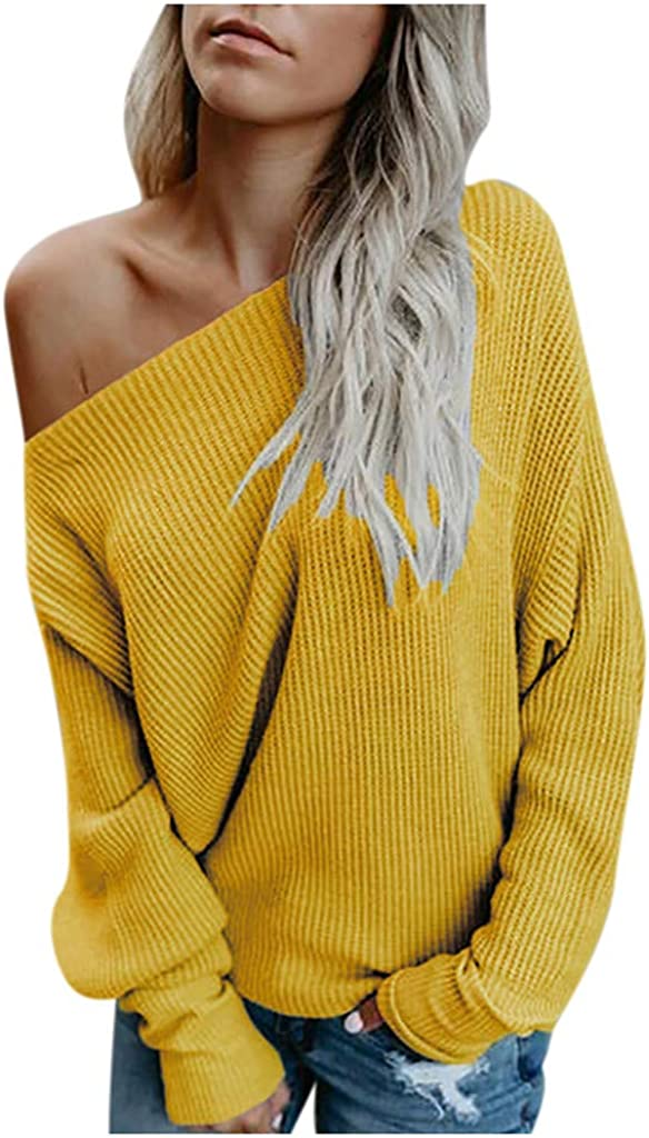 WOCACHI Sales Off Outstanding Shoulder Sweater for Womens Size K Solid Color Plus