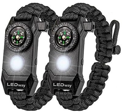 LEDway Paracord Bracelet Tactical Survival Gear Kit 6-IN-1- 70% Larger Compass LED SOS Emergency Function Flashlight -Fire Starter Emergency Knife & Whistle (Black / Black Adjustable size)