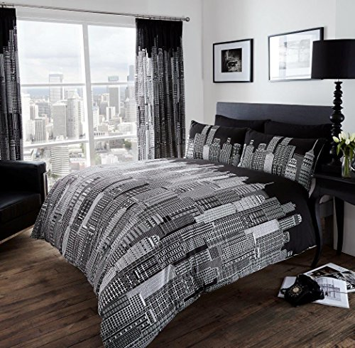 Adam 3D Sky Line NYC New York City Night Duvet/Quilt Cover Sets Bedding Sets (Double, Sky Line)
