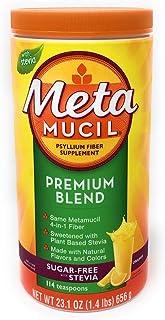Metamucil Premium Blend Sugar Free Fiber, 114 Servings, Psyllium Husk Fiber Powder Supplement, with Stevia, Natural Orange...