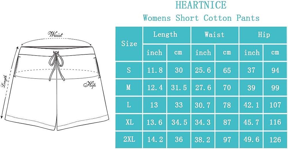 HEARTNICE Womens Cotton Pajama Shorts, Soft Sleep Shorts for Women Lightweight Lounge Pj Bottoms