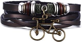 Vnox, bracciale da uomo e donna, in vera pelle, con ciondoli a forma di bicicletta, in tinta unita, colore marrone, lunghe...