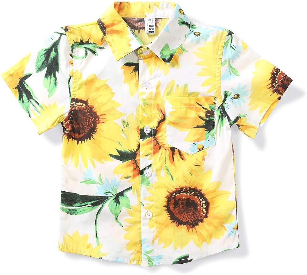 OCHENTA Low price Little Big Boy's Lightweight Button Shir Sales for sale Hawaiian Down