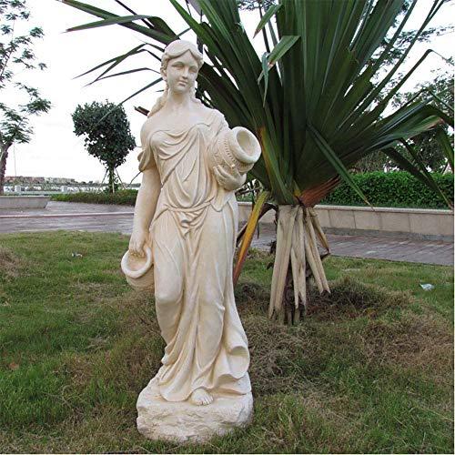 CHHD Estatuas de Paisaje de mármol de Resina para jardín al Aire Libre, Piscina, Grandes esculturas de alas de ángel, Figura de Diosa Religiosa, jardín, decoración del hogar, Blanco D