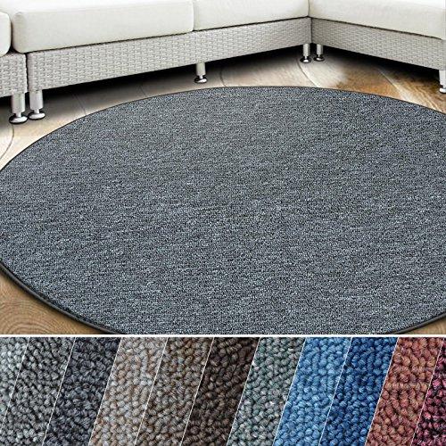 casa pura Teppich London   viele Größen   pflegeleichter Flacher Schlingenflor   Flurteppich, Wohnzimmerteppich, Küchenteppich, Schlafzimmerteppich (Dunkelgrau - rund 200 cm Durchmesser)