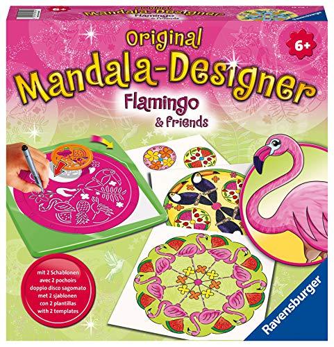 Ravensburger Mandala Designer Flamingo & Friends 28518, Zeichnen lernen für Kinder ab 6 Jahren, Kreatives Zeichen-Set mit Mandala-Schablonen für farbenfrohe Mandalas