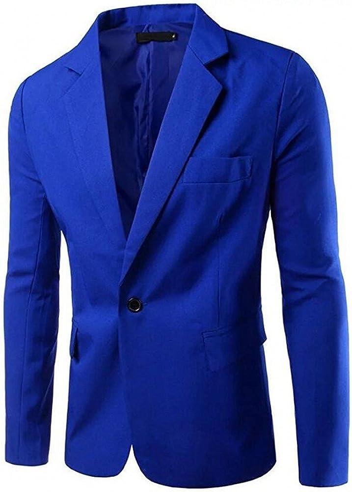 Botong Royal Blue Notch Lapel Mens Blazer One Button Business Suit Jacket