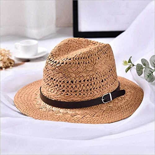 GWLYDB été Handmade plage femmes Boho Fedora Hat paille Hat Sun Hat Décontracté Hommes Jazz Hat