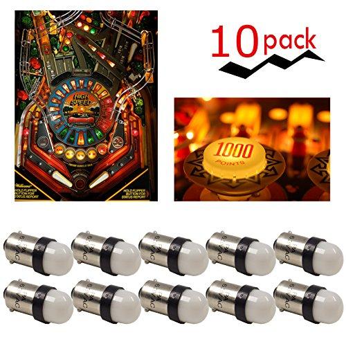 PA 10PCS #44#47#1893#756#1847 T11 ba9s 2 SMD 2835 LED 6.3V DC Wedge Pinball Gaming Machine Light Bulb Warm White 2700K