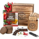Indoor Pepper Seed Starter Kit – Pepper Growing Kit with 4 Non-GMO Hot Pepper Seeds, Wood Planter Box, Soil, Pots, Plant Markers, Vegan Gardening Gifts, Grow Your Own Indoor Vegetable Garden Kit