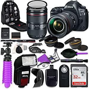Canon 5D Mark IV DSLR Camera with Canon EF 24-105mm f/4L is II Lens, Auxiliary Panoramic and Telephoto Lenses, 32GB…