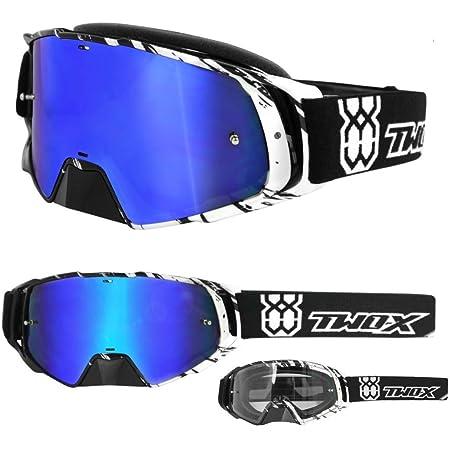 Two X Rocket Crossbrille Crush Schwarz Weiss Glas Verspiegelt Blau Mx Brille Nasenschutz Motocross Enduro Spiegelglas Motorradbrille Anti Scratch Mx Schutzbrille Nose Guard Auto