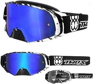 TWO-X Rocket Crossbrille Crush schwarz Weiss Glas verspiegelt blau MX Brille Nasenschutz Motocross Enduro Spiegelglas Motorradbrille Anti Scratch MX Schutzbrille Nose Guard Für Preis bitte klicken