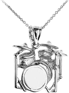 925 Sterling Silver Music Charm Drum Set Pendant Necklace