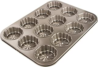 Webake Shortcake Pan Flower Shape 12 Cup Mold Non Stick Carbon Steel Round Mini Cake Pan for Baking Individual Cupcake, Bread, Bar-Cookies