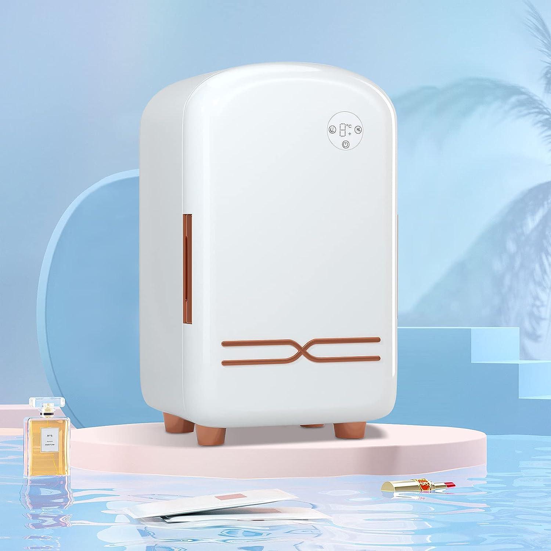 TELAM Mini refrigerador de 12 litros, Verde refrigerador portátil para el Cuidado de la Piel para Almacenamiento de Maquillaje, refrigerador de Belleza portátil, refrigerador termoeléctrico (White)