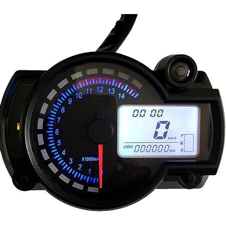 Kkmoon Motorrad Tacho Lcd Digital Drehzahlmesser Kilometerzähler Tachometer 7 Farben Mit Fehler Warnleuchte Für Rx2n 4 Zylinder 400cc 5000rpm Auto