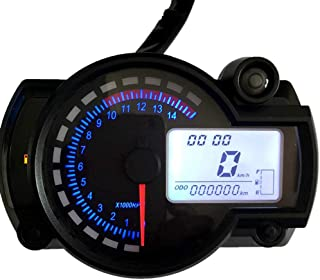 KKmoon Motorrad Tacho LCD Digital Drehzahlmesser Kilometerzähler Tachometer 7 Farben mit Fehler Warnleuchte für RX2N 4 Zylinder 400CC 5000rpm