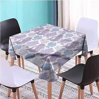 Zara Henry Design Whale Picnic Cloth,Sea Life Paisley Mehndi Outdoor Picnics, W36 x L36 Inch