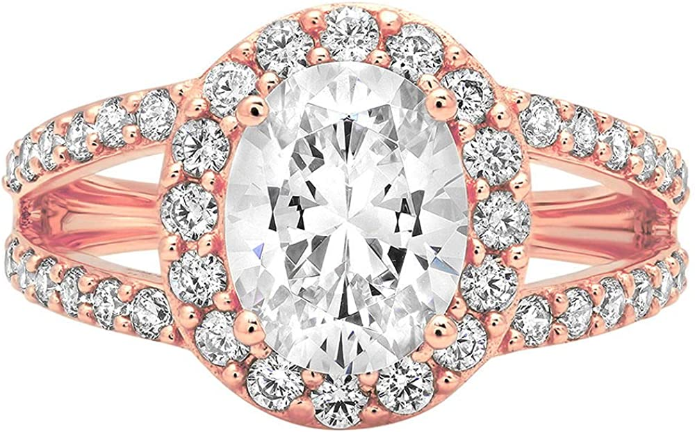 2.24 ct Oval Cut Solitaire with Accent Halo split shank Stunning Genuine Moissanite Ideal VVS1 D & Simulated Diamond Engagement Promise Statement Anniversary Bridal Wedding Ring Solid 14k Rose Gold