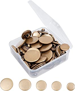OLYCRAFT 50pcs Metal Blazer Button Set Brass Vintage Shank Buttons 15mm 18mm 20mm 23mm 25mm for Blazer, Suits, Coat, Unifo...