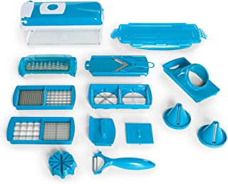 Genius Nicer Dicer Plus Chopping Set Azure 16 Pieces With Julienne Spiral Cutter (Large Version)